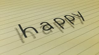 Very Easy!! How To Draw 3D Floating Word HAPPY for Kids 3D Trick Art on Line Paper