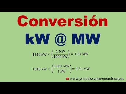 Convertir de Kilowatt a Megawatt  (kW a MW)