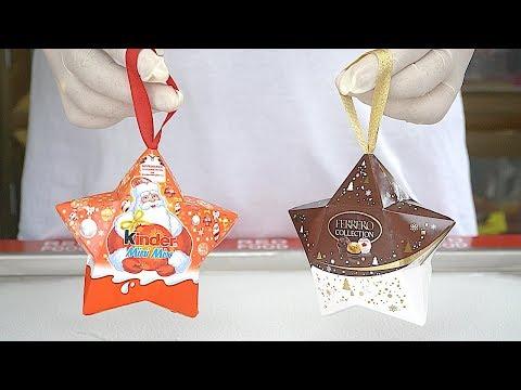2 in 1 Kinder Chocolate Santa Mini Mix Star & Ferrero Rocher Collection Star Ice Cream Rolls