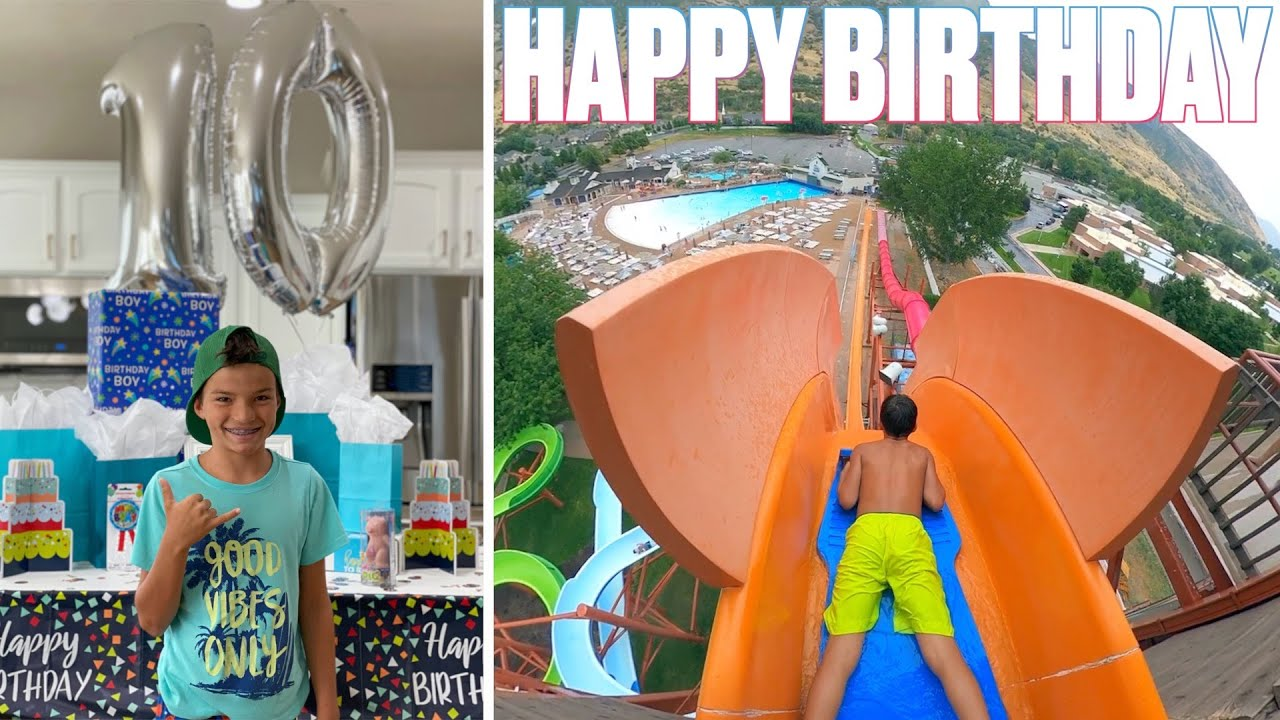 HAPPY BIRTHDAY KREW BINGHAM | GOING FULL SEND DOWN INSANE WATER SLIDES IN THE POURING RAIN WATERPARK