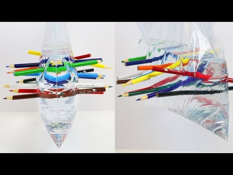 Cool SCIENCE Trick Colored Pencil Through Bag of Water!