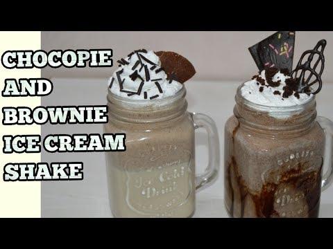 Brownie & Choco-pie Ice-cream Milkshake-Ice Cream Shakes-ब्राउनी चोको-पाई शेक बनाने की आसान रेसिपी