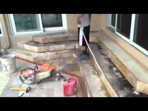 Pool Deck Travertine Install St. Petersburg, Florida - Step Install