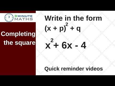 Completing the square, write in the form (x + p)squared + q