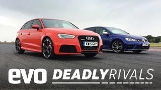 Audi RS3 vs Volkswagen Golf R   evo DEADLY RIVALS
