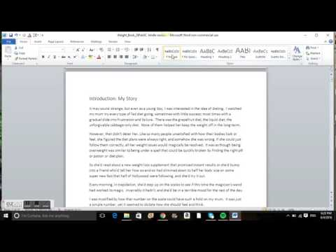 How to  format your word document for Kindle - step 1