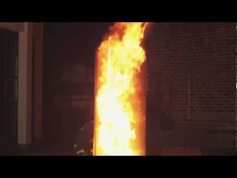 Creating a Fireball - Pouring water on an oil fire (short version)
