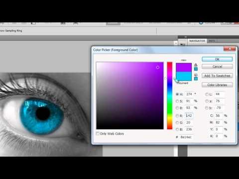Editing the eye colour by using adobe photoshop cs5.