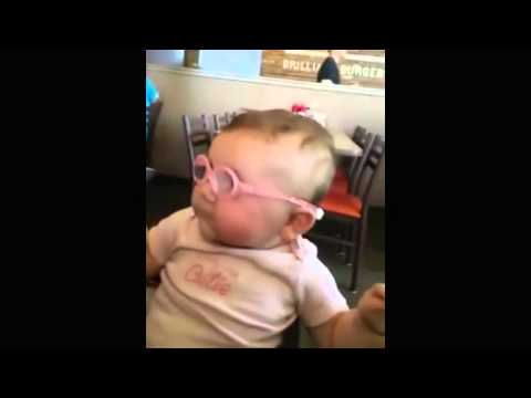 Adorable Baby Piper, who has weak eyesight, tries on glasses for the first time