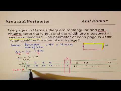 Rectangle perimeter of 44 cm find all possible integer value of length width and area
