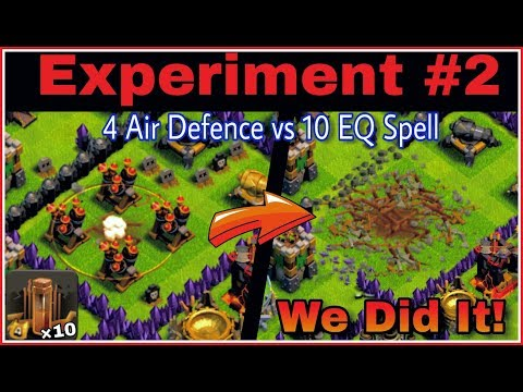 EXPERIMENT #2 - Destroying Four Air Defence with Lightning Spell and EQ Spell | Clash Of Clans HINDI