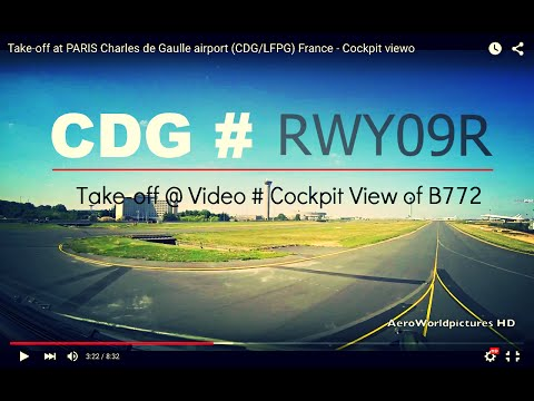 Take-off @ PARIS - Charles de Gaulle airport (CDG/LFPG) France # Cockpit view - RWY09R