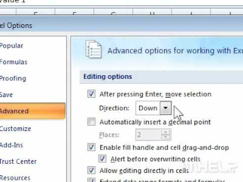 How to change which cell is selected next in Excel