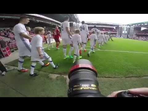 GoPro POV behind the scenes with football photographer at Danish Alka Superliga soccer match