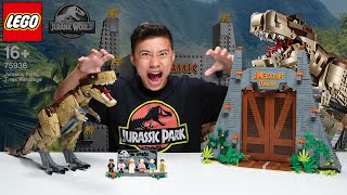 LEGO JURASSIC PARK: T. REX RAMPAGE!!! Biggest LEGO Dinosaur Set! Time Lapse & Stop Motion!!