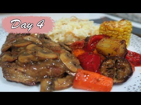 4 RESEP dalam 1 PIRING (Leg of Lamb Steak, Roasted Vegetables, Syrian Rice, Mushroom Gravy)