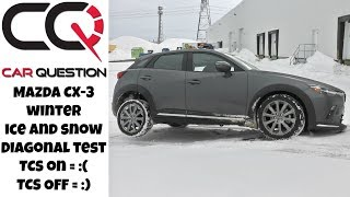 Mazda CX-3 AWD Diagonal test: Better with TCS OFF! | Snow and ice!