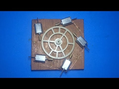 Experiment 5 motors combination , How to make a powerful gear motor