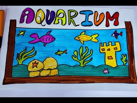 How to Draw a fish Aquarium for kids || Learn to draw a fish tank and coloring it