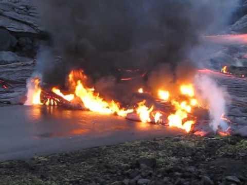 Kilauea Lava Burns Highway 130 January 5, 2011