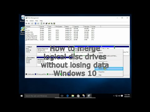 How to merge logical disc drives  without losing data Windows 10