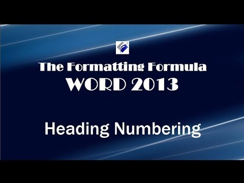 Word 2013 Heading Numbering