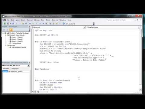 Excel 2010 VBA Tutorial 71   ADODB   Database Connections
