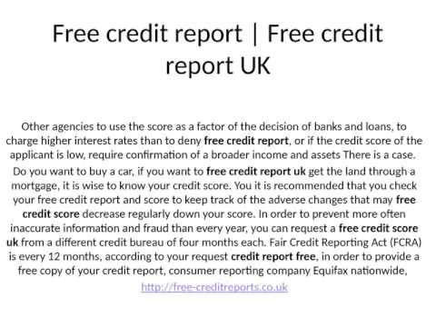 Free credit report instant check