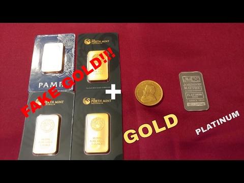 Fake Gold!!! Plus 1 oz Gold South African Krugerrand and 1 oz Platinum JM bar