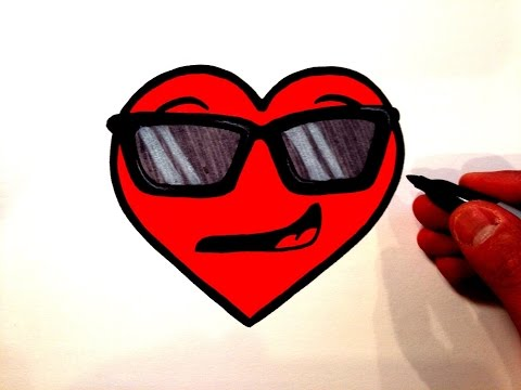How to Draw a Cool Heart Smiley Face with Sunglasses