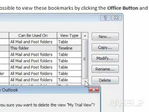 How to delete an existing view in Outlook