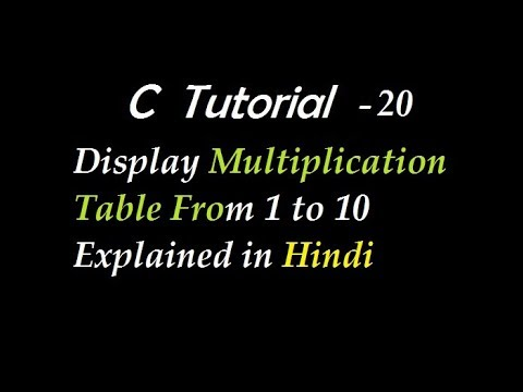 C Program To Display Multiplication Table From 1 to 10 Explained in Hindi