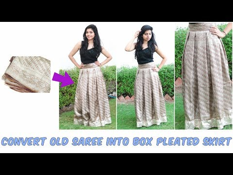 Convert Old Saree into Box Pleated Skirt| No Maths Needed|Wedding season Outfit DIY