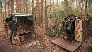 Camping Overnight at The Bushcraft Camp & Off Grid Cabin in the Woods