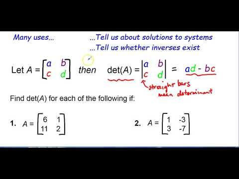 HonAlgII - Finding Determinants of 2X2 Matrices