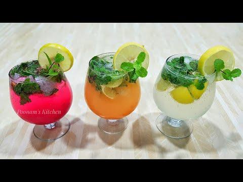 Three types of Mojito Recipes/ Refreshing Summer Cool Mocktail Recipes - Mojito Recipe in Hindi