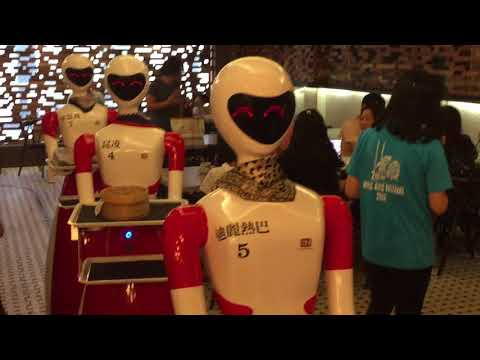 Robotic waiter serving dimsum in NamHeong, Ipoh Malaysia