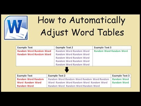 How to automatically adjust table to fit text in Microsoft Word
