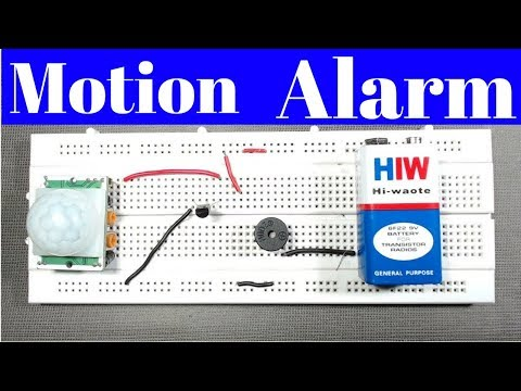 motion sensor alarm PIR without microcontroller,DIY how to make motion sensor alarm