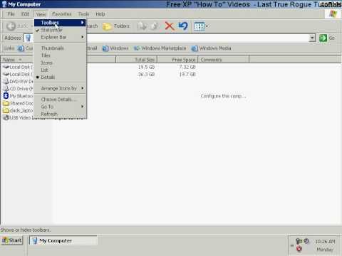 Windows XP BASICS - VIEW & HIDE Windows Explorer Toolbars