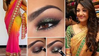 Party Style Saree Draping with Party Style Makeup and Party Hairstyles Step By Step   Party Makeup