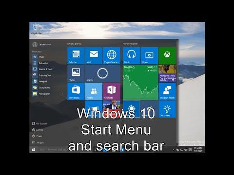 Windows 10 Start Menu and Search bar