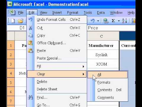 Microsoft Office Excel 2003 Clear cells of contents or formats