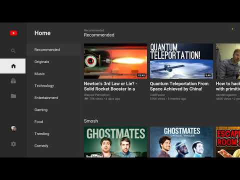 Youtube's new layout for the android tv os. Video quality can now be adjusted.