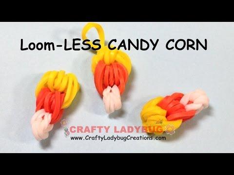 Rainbow Loom-LESS EASY CANDY CORN CHARM HALLOWEEN Series Tutorials by Crafty Ladybug/How to
