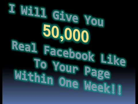 Get 50,000 real facebook likes to your page within one week !