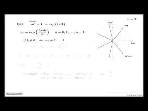 Tutorial Q42 -- n-th roots of unity and geometric progression formula