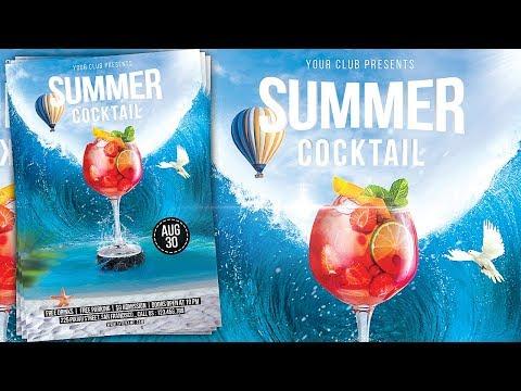 Summer Cocktail Party Flyer Design - Photoshop Tutorial