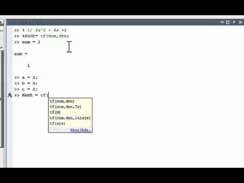 Matlab Transfer Functions Tutorial