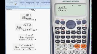 حساب نهايات دالة باستعمال آلة حاسبة للتأكد من النتيجة